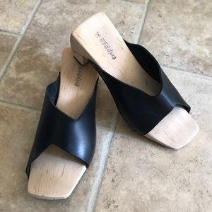 Shoes - Trippen Sandals Black Leather Wooden 39 or 9 EUC